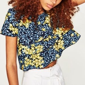 New Zara Tiered Crop Top Navy Yellow